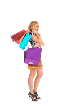 Free Beautiful Woman With A Lot Of Shopping Bags. Isolated On White Stock Image - 27934051