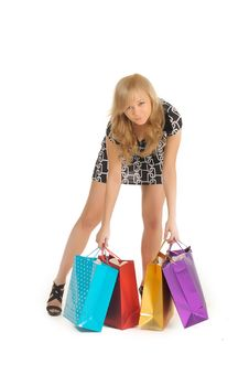 Free Beautiful Woman With A Lot Of Shopping Bags.  On White Stock Photo - 27934130