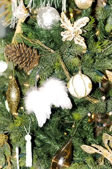 Decorated On Christmas Tree In Home Stock Photography