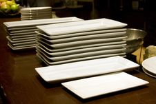 Free Restaurant Kichen Counter Plates Royalty Free Stock Photos - 27936198