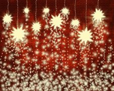 Stars And Snowflakes On Red Background Stock Photo