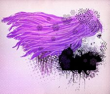 Free Purple Hair Girl Illustration Royalty Free Stock Photography - 27938007