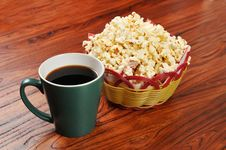 Popcorn And Coffee Royalty Free Stock Photography