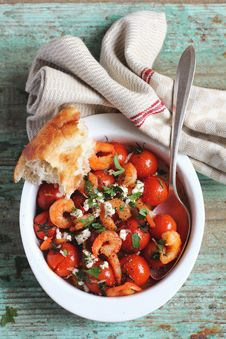 Baked Shrimps And Cherry Tomatoes With Feta Cheese Royalty Free Stock Photos