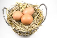 Free Nest With Eggs In Basket Stock Image - 27943071