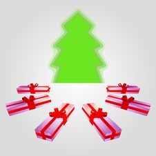 Free Isolated Wide Gifts Around Green Tree Royalty Free Stock Image - 27943946