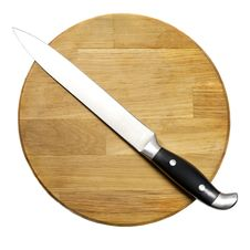 Free Large Kitchen Knife On A Wooden Board Stock Images - 27944294