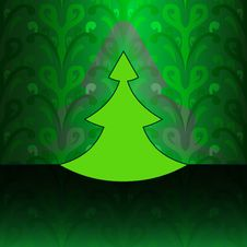 Free Modern Christmas Tree On Green Floral Pattern Royalty Free Stock Image - 27944466
