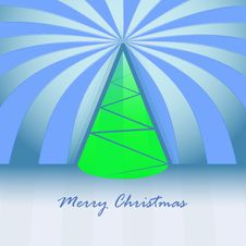 Free Conical Green Christmas Tree And Striped Royalty Free Stock Image - 27944506