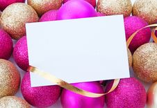 Free Christmas Decorations And Blank Card Royalty Free Stock Image - 27944566