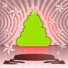 Free Round Shape Christmas Tree On Pink Ribbon Card Royalty Free Stock Photography - 27944617