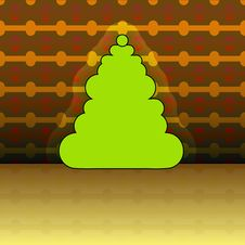 Free Round Shape Christmas Tree On Yellow Pattern Royalty Free Stock Photography - 27944637