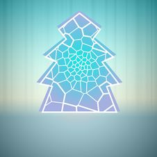 Blue Alighted Line Christmas Tree Vector Royalty Free Stock Image