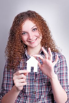 Free Curly Girl Builder With Their Dream House Royalty Free Stock Photos - 27946538