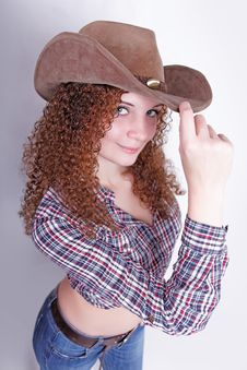 Free Pretty Curly Sexy Cowboy Girl Royalty Free Stock Photography - 27946817