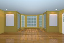 Free Empty Yellow Living Room Royalty Free Stock Photos - 27946838