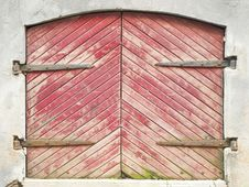 Wooden Door With Forged Curtain Stock Photography