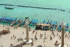 Free Venice Lagoon And Gondolas, Aerial View Royalty Free Stock Photography - 27950347
