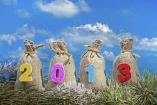 Free Gift Bags With 2013 Digits Royalty Free Stock Images - 27950709