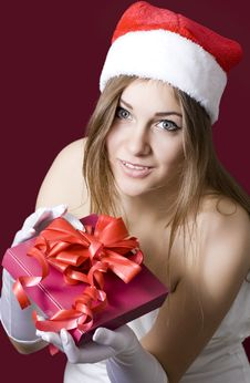 Free Young Happy Girl In Christmas Hat. Stock Images - 27951294