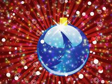 Free Blue Christmas Ball On Sparkle Red Background Stock Image - 27955981