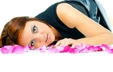 Free Beautiful Girl In Rose Petals Isolated Stock Images - 27957774