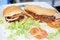Free Hamburger And Hotdog On White Plate Royalty Free Stock Images - 27956069