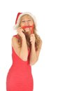 Free Attractive Woman In Santa Cap With Chili Pepper Royalty Free Stock Photo - 27967305