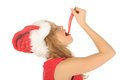 Free Attractive Woman In Santa Cap With Chili Pepper Royalty Free Stock Photos - 27967358