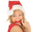 Free Attractive Woman In Santa Cap With Chili Pepper Stock Photography - 27967402