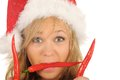 Free Attractive Woman In Santa Cap With Chili Pepper Stock Photography - 27967462