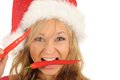 Free Attractive Woman In Santa Cap With Chili Pepper Royalty Free Stock Images - 27967479