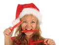Free Attractive Woman In Santa Cap With Chili Pepper Stock Photography - 27967502