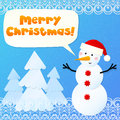Free Paper Snowman With Sign Merry Christmas Royalty Free Stock Image - 27969756