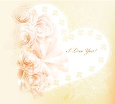 Free Pretty Gentle Valentine Vector Card With Roses Stock Photography - 27960512