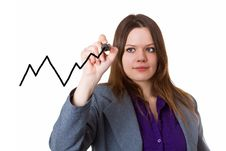 Free Young Woman Drawing A Curve Chart Royalty Free Stock Images - 27961059