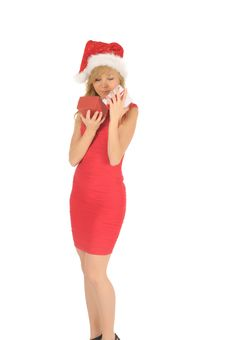 Free Santa Woman In A Red Dress  With A Christmas Gift Stock Image - 27967111
