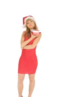 Free Santa Woman In A Red Dress  With A Christmas Gift Stock Image - 27967131