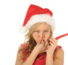 Free Attractive Woman In Santa Cap With Chili Pepper Royalty Free Stock Photo - 27967315