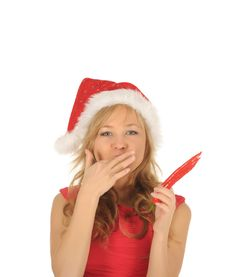 Free Attractive Woman In Santa Cap With Chili Pepper Royalty Free Stock Photo - 27967325