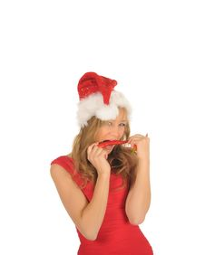 Free Attractive Woman In Santa Cap With Chili Pepper Royalty Free Stock Photo - 27967335