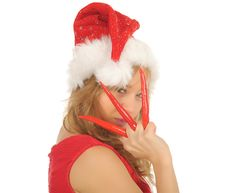 Free Attractive Woman In Santa Cap With Chili Pepper Stock Photos - 27967443