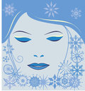 Free Girl Face With Snowflakes Stock Photo - 27971300