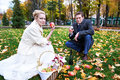 Free Groom Keeps Glass Of Brandy, And Bride With Apple Stock Image - 27971591