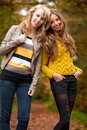 Free Happy Sisters In The Autumn Stock Photography - 27976152