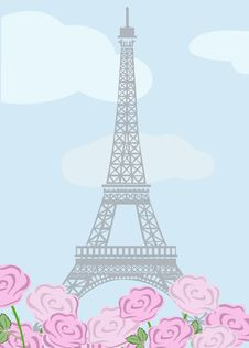 Free Eiffel Tower With Roses Stock Image - 27970841