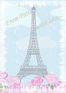 Free Grunge Eiffel Tower With Roses Royalty Free Stock Photos - 27970888