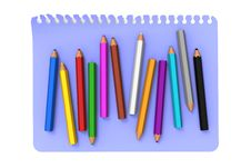 Free Colored Pencils On Blue Note Message Paper Stock Photography - 27971492