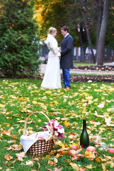 Happy Bride And Groom In Park On Picnic Stock Images