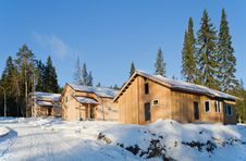 Free Recently Constructed Three Country Houses In Wood Stock Photography - 27972822